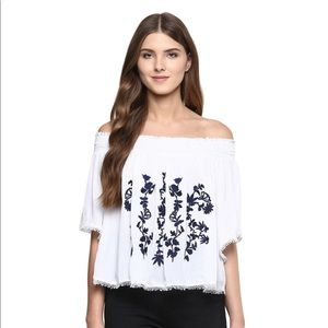 Bohemian Off the Shoulder Embroidered Top